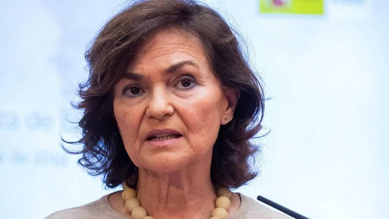 """La vicepresidenta del Gobierno en funciones, Carmen Calvo ha separadola negociación de la investidura de la sentencia europea del Tribunal de Justicia de la Unión Europea: """"No hay nada disonante para seguir trabajando"""", ha asegurado.¿Lo ha hecho des"""