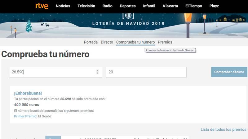 Compruebe su décimo de lotería en RTVE.es