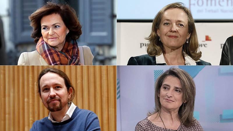 Nadia Calviño, Carmen Calvo, Pablo Iglesias y Teresa Ribera serán los cuatro vicepresidentes del Gobierno