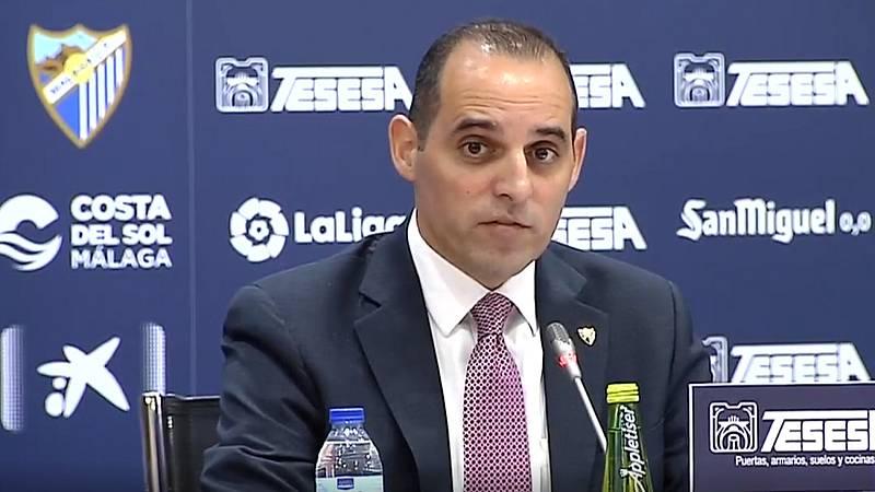 El director general del Málaga, Richard Shaheen, ha segurado en rueda de prensa que están buscando una 'solución amistosa' para resolver el contrato de Víctor Sánchez del Amo, que fue suspendido la semana pasada después de que se filtrara un vídeo ín