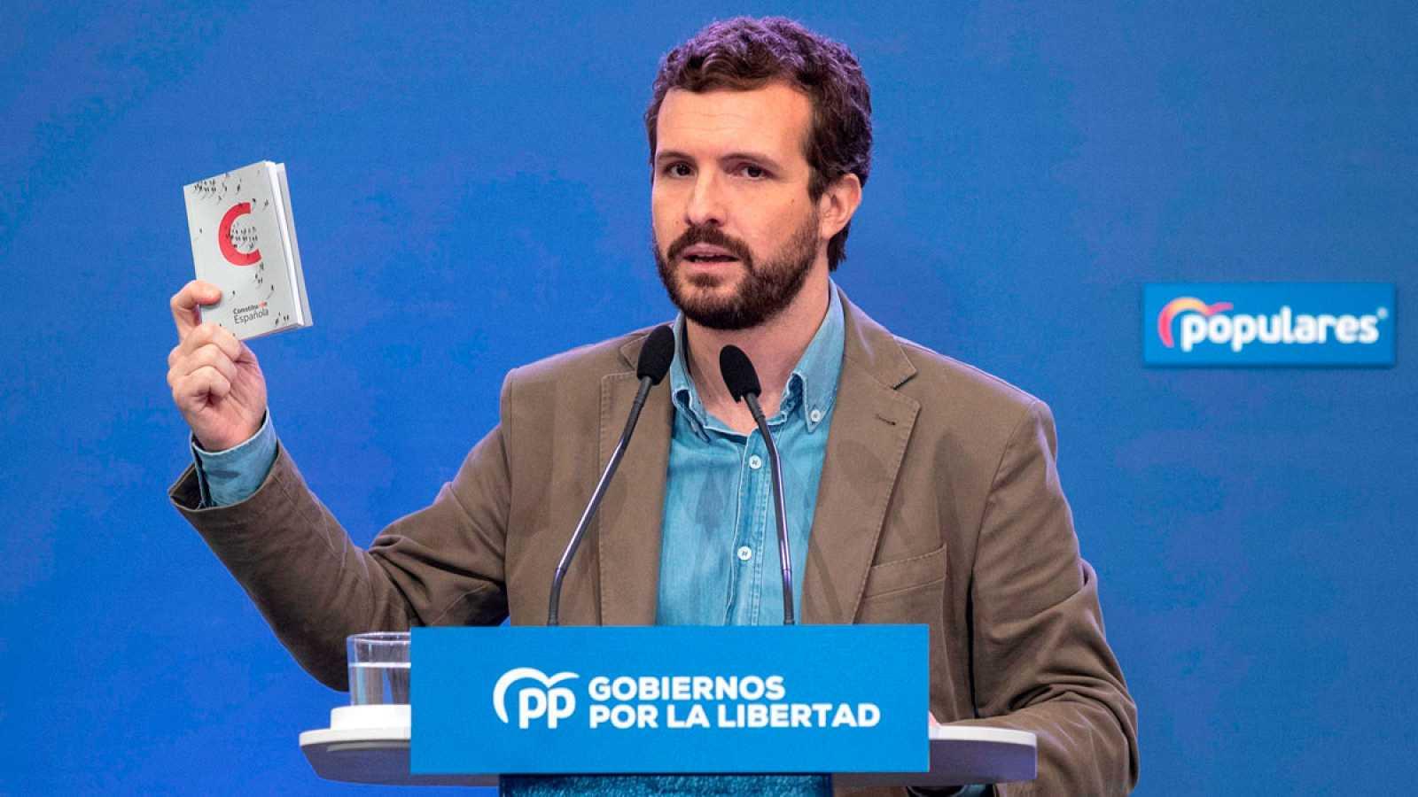 """Casado acusa a Sánchez de utilizar 'el pin parental' como """"cortina de humo"""" para """"tapar"""" el nombramiento de Delgado"""