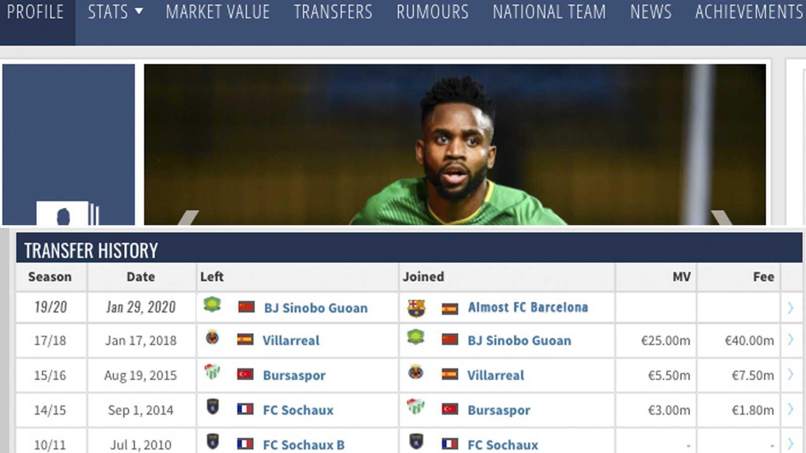 """La web 'Transfermarkt' sigue la broma de Bakambu y añade a su historial de fichajes """"casi FC Barcelona"""""""