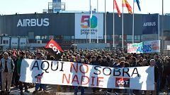 Los trabajadores de Airbus se movilizan contra el recorte de empleos anunciado por la compañía
