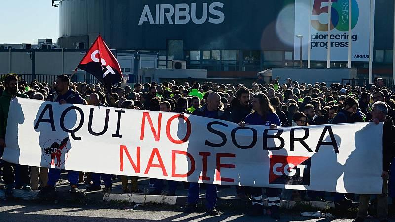 Cientos de trabajadores de Airbus secundan las concentraciones y paros contra los despidos anunciados por la compañía