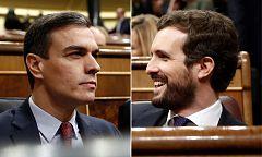 Sánchez y Casado se enzarzan en reproches mutuos por la mesa de diálogo con Cataluña