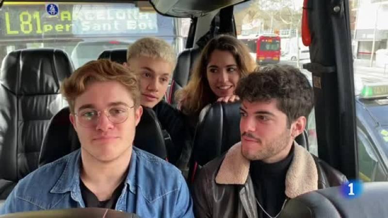 Gèrard, Anajú, Rafa y Hugo de camino a la firma de discos en Barcelona de Operación Triunfo 2020
