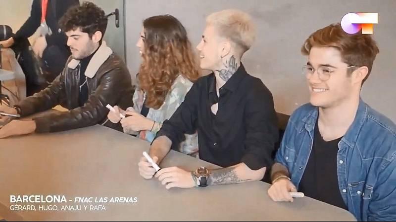 Primeros momentos de las firmas de Anajú, Gèrard, Hugo y Rafa en Barcelona