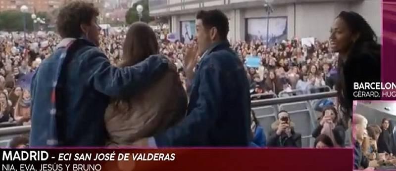 Nia, Jesús, Bruno y Eva en su primera toma de contacto con los fans de Madrid