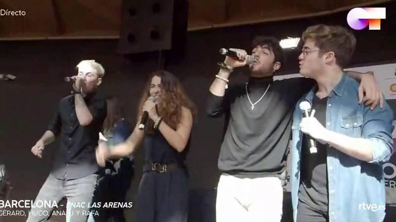 """Anajú, Gèrard, Hugo y Rafa cantan el """"Díselo a la vida"""" en las firmas de Barcelona y el público enloquece"""