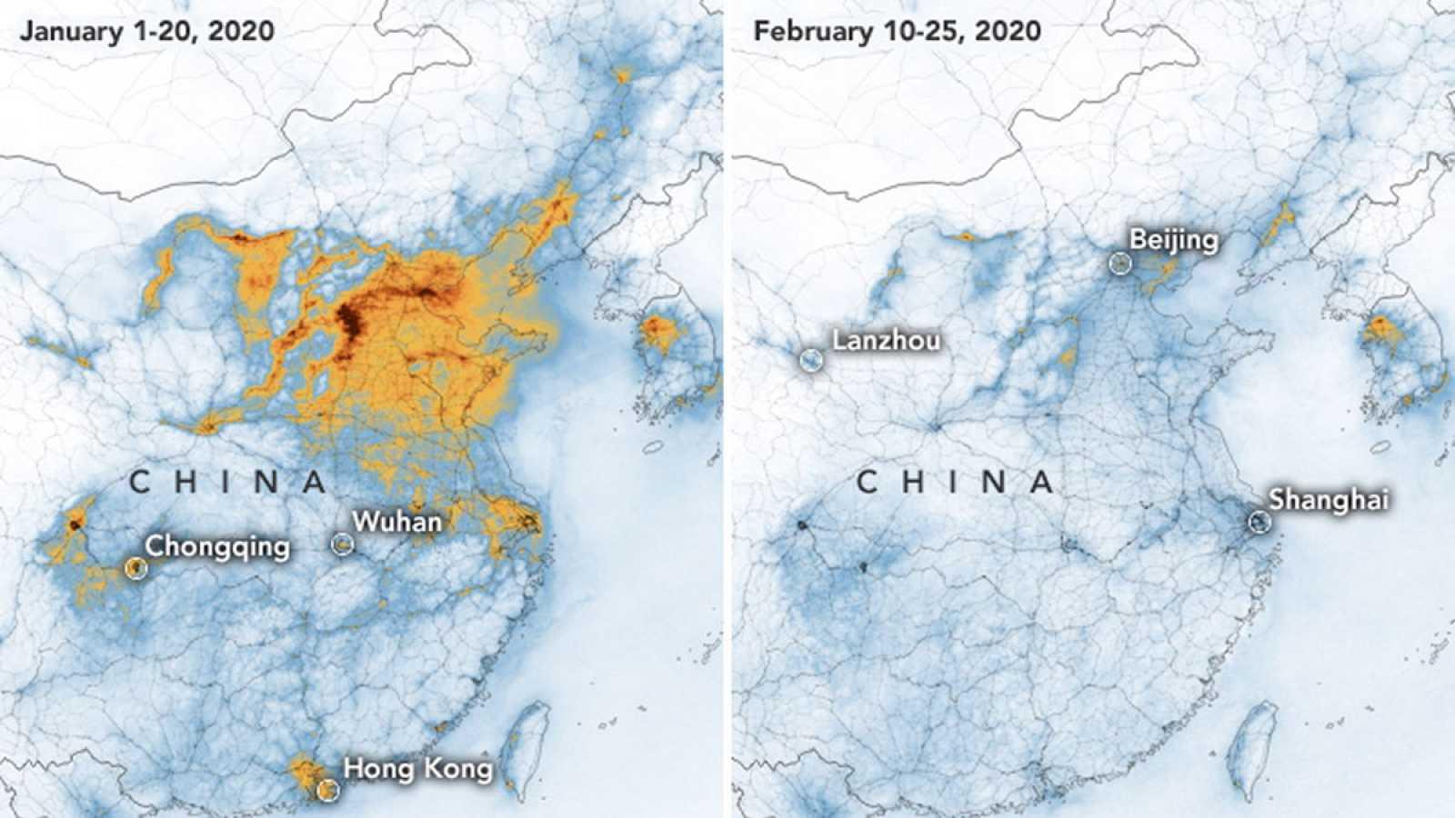 Coronavirus | La nube de contaminación de China disminuye por el ...