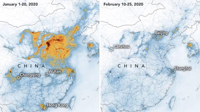 La nube de contaminación de China disminuye por el coronavirus