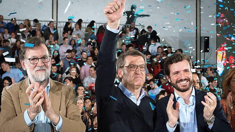 Casado y Rajoy arropan a Feijóo en la precampaña