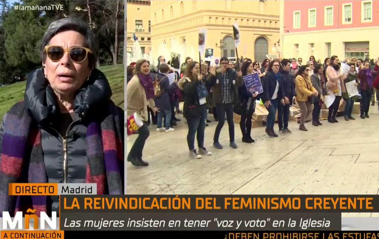 """La Mañana - Las calles de Madrid se llenan de feministas creyentes bajo el lema: """"Hasta que la igualdad se haga costumbre"""""""