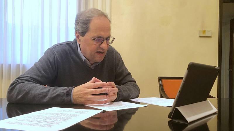 """Torra critica que el Gobierno no haya cerrado infraestructuras en Cataluña y Robles responde que """"falta a la verdad"""""""