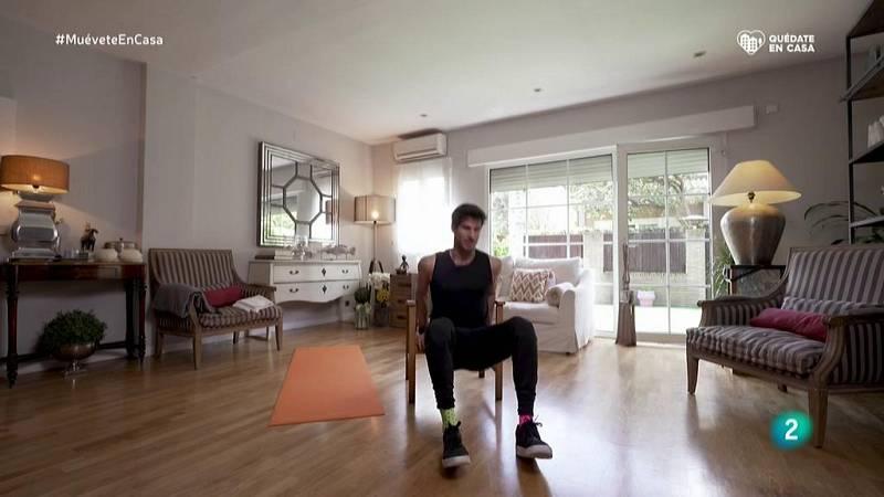 Muévete en casa - Circuito 1: burpees, balanceo, flexión y extensión rodilla, planchas y estiramientos brazos