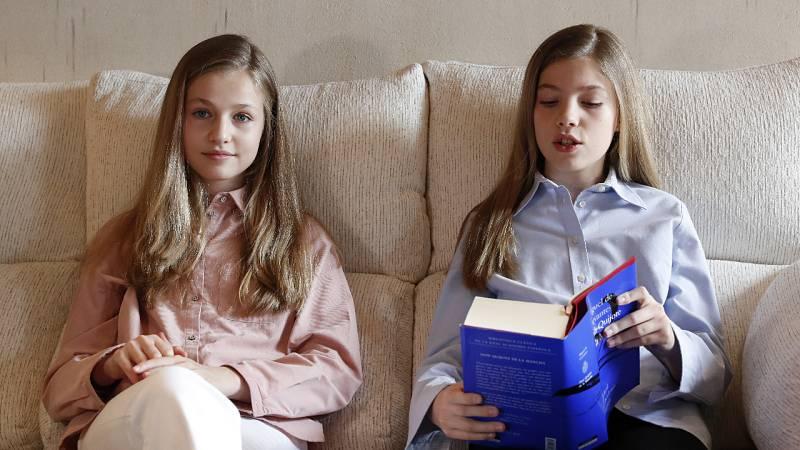 Leonor y Sofía leen 'El Quijote' y mandan un mensaje de ánimo a los niños que lo pasan mal