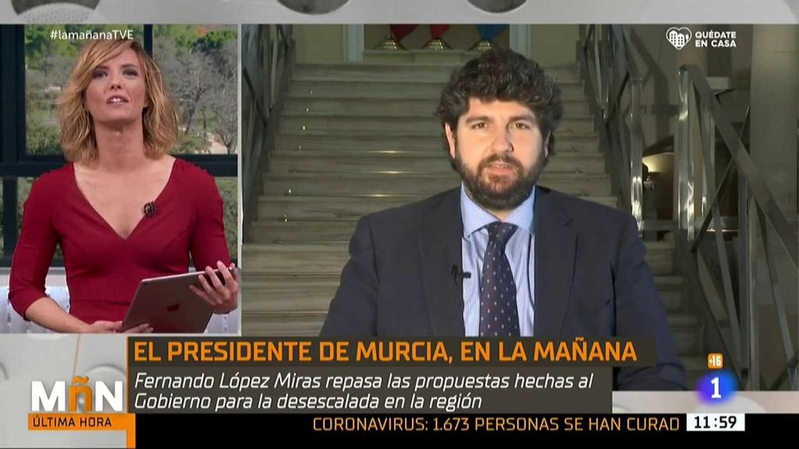 """López Miras, sobre la desescalada: """"No hemos hecho propuestas al Gobierno porque no nos las han solicitado"""""""