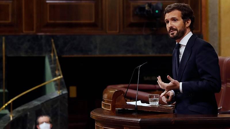 "Casado acusa a Sánchez de ""ir como pollo sin cabeza, cambiando de socios"""