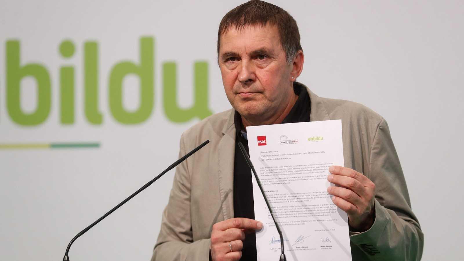 """Otegi dice que el pacto para derogar la reforma laboral debe cumplirse: """"Las notas aclaratorias no alteran los acuerdos"""""""