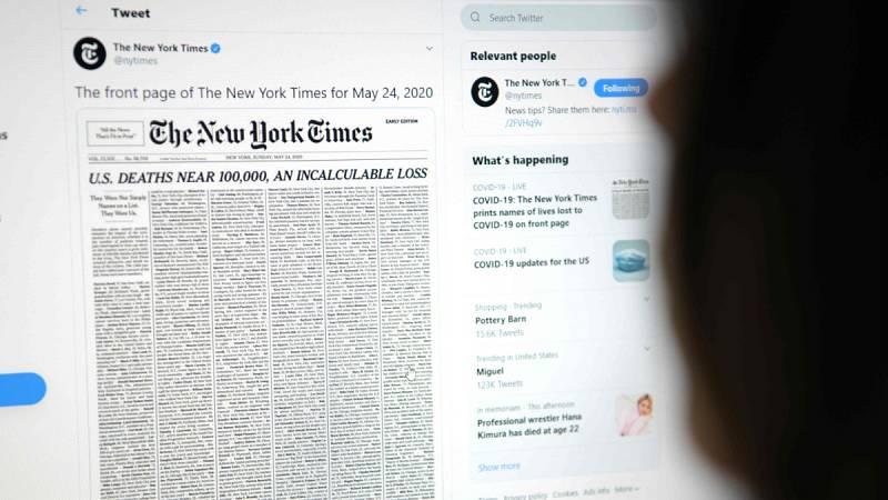 """""""Casi 100.00000 en Estados Unidos, una pérdida incalculable"""", la portada del New York Times que recuerda a las víctimas del coronavirus en el país"""