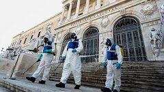 La UME desinfecta la Biblioteca Nacional y el Museo Arqueológico