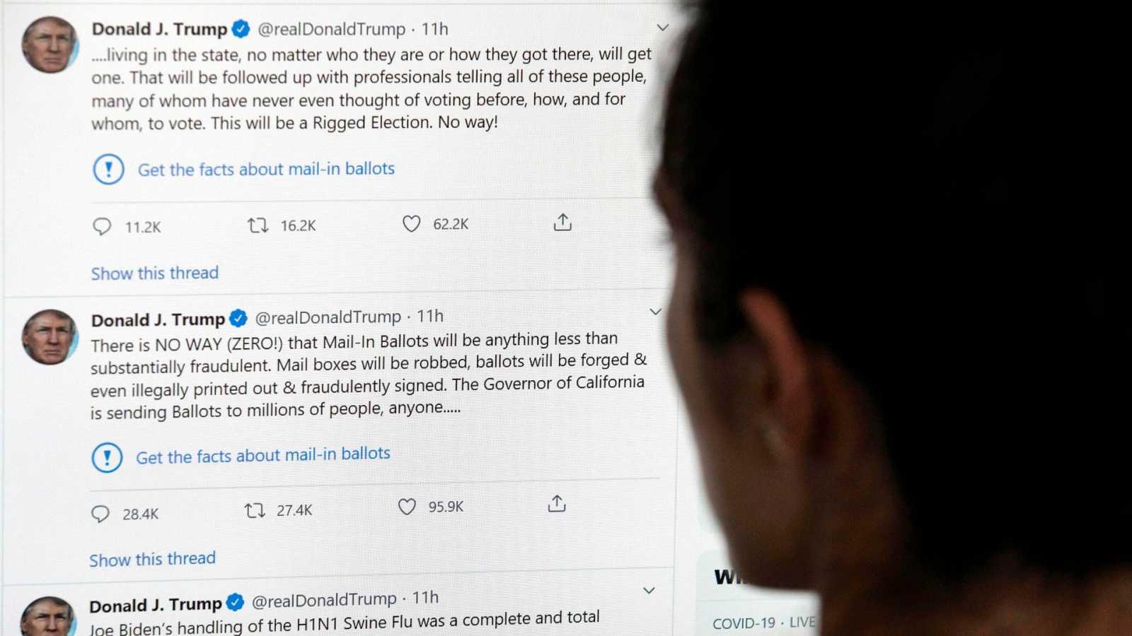Twitter verfica por primera vez un mensaje de Trump
