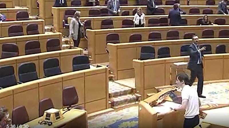 """El PP se marcha del Senado después de que Rubiño (Más Madrid) les diga que gobiernan """"con fascistas"""""""