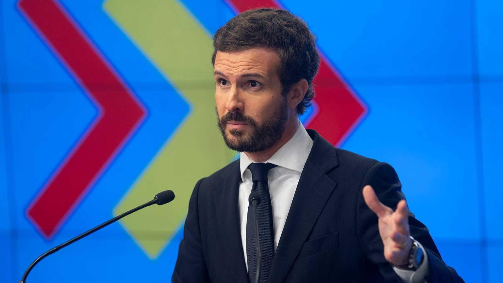 """Casado defiende un PP """"moderado"""" y """"centrado"""" y acusa a Sánchez de generar """"crispación"""""""