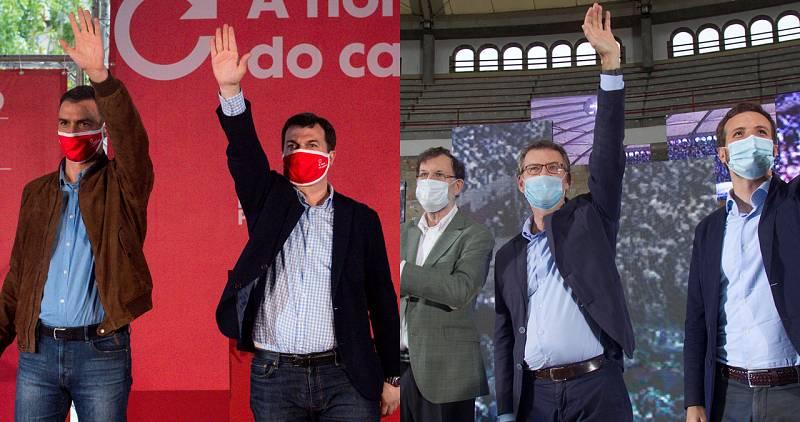 Sánchez y Casado arropan a sus candidatos a las elecciones gallegas entre reproches mutuos por el coronavirus