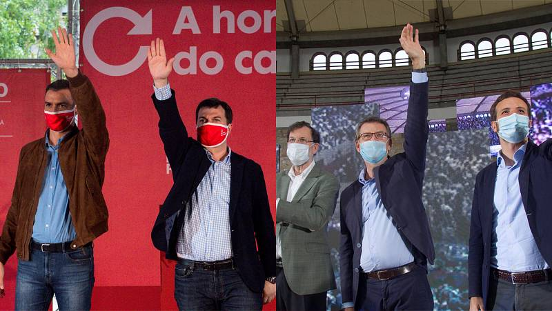 Sánchez y Casado se lanzan mutuos reproches por el coronavirus mientras arropan a sus candidatos al 12J en Galicia