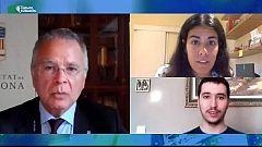 Noms propis connectats - Joan Elias, rector de la Universitat de Barcelona, i els estudiants Eulàlia Elena i Eduard Garrabou