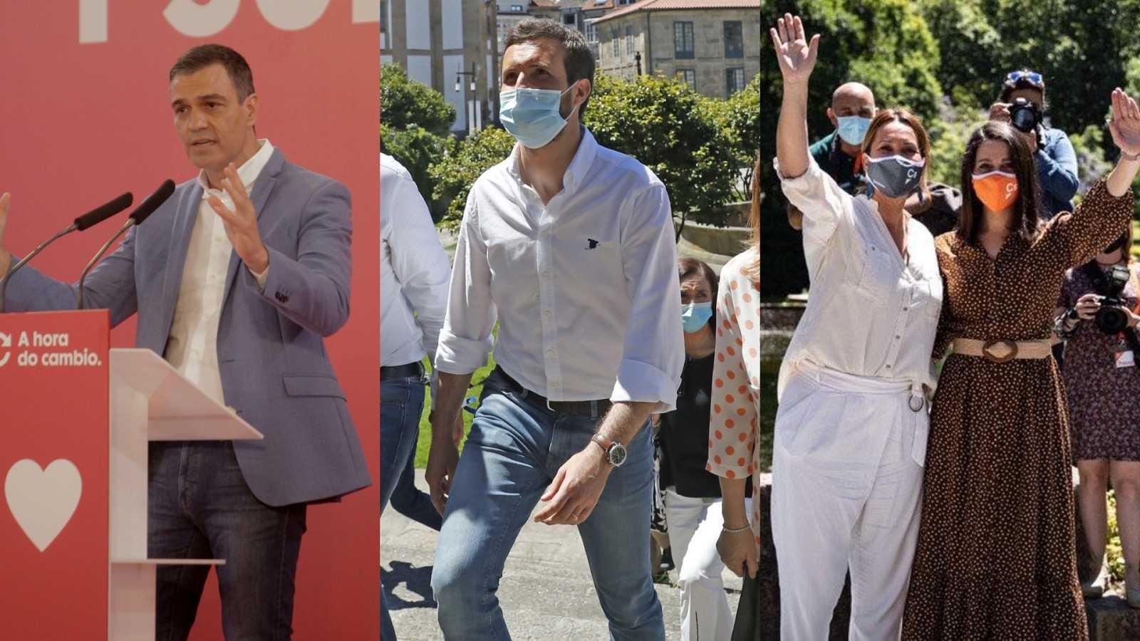 Elecciones gallegas: Entran en campaña Pedro Sánchez, Pablo Casado e Inés Arrimadas