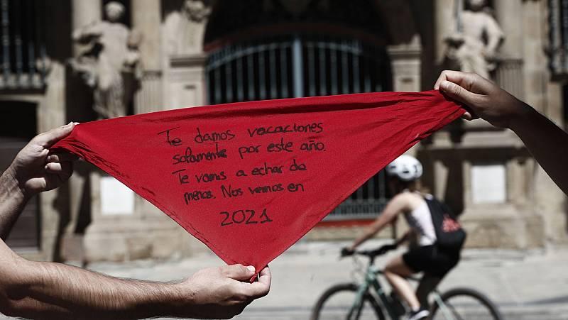 Pamplona se blinda para evitar aglomeraciones a la hora que iba a celebrarse el chupinazo
