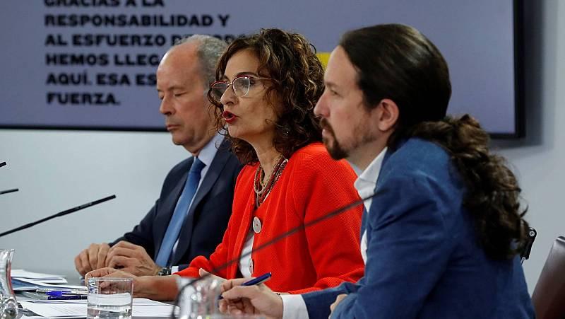 La ministra portavoz, María Jesús Montero, en la rueda de prensa del Consejo de Ministros