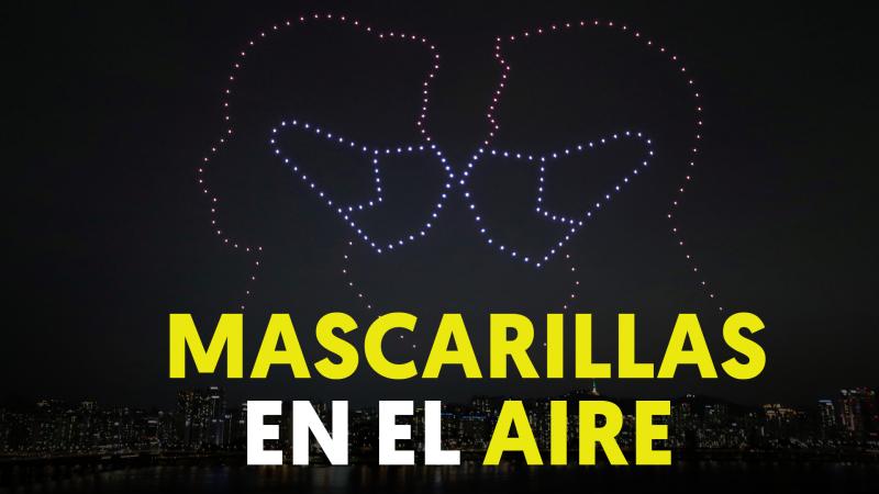 Un espectáculo de luces con 300 drones para recordar la importancia de llevar mascarilla
