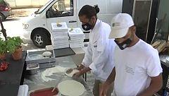 Pizzas solidarias en Portugal