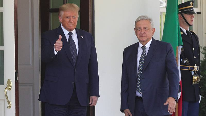 Trump recibe a López Obrador en la Casa Blanca