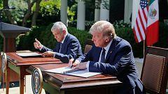 Trump evita hablar del muro en su reunión con el presidente mexicano López Obrador