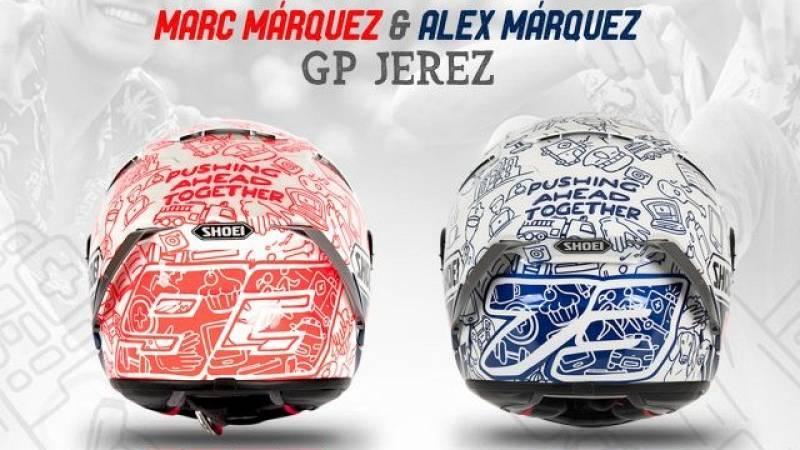 Así son los cascos solidarios de los hermanos Márquez