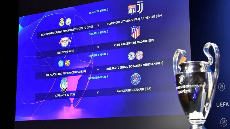 Sorteo de cuartos de Champions favorable para el Atlético y difícil para Madrid y Barça