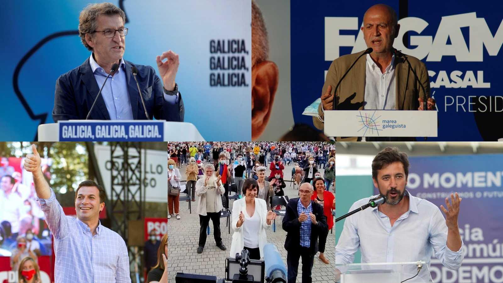 """Feijóo llama a votar sin """"miedo"""" al Covid y el resto de candidatos apelan a un cambio progresista en Galicia"""