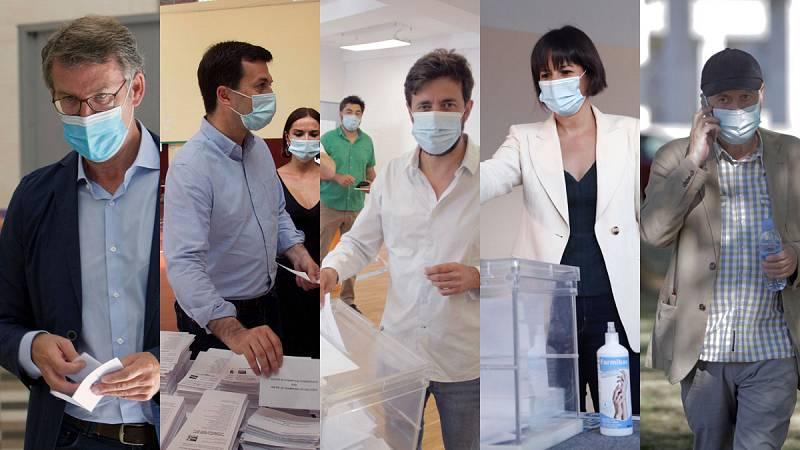 Los candidatos gallegos llaman a participar y votan pendientes del brote de A Mariña