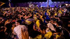 Celebración del Cádiz por todo lo alto, pero sin mantener las medidas de seguridad por la COVID-19