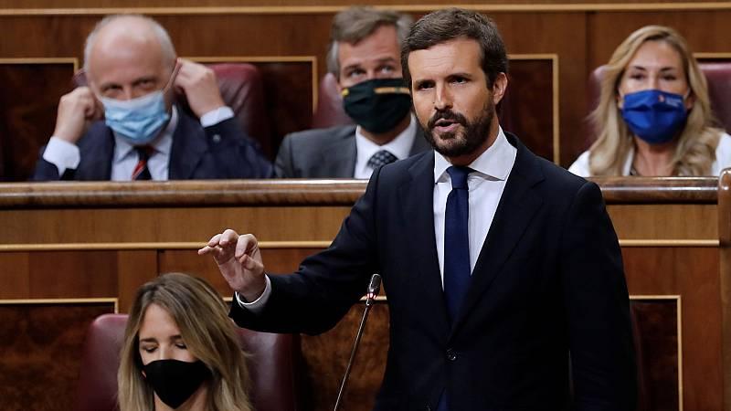 """Casado insiste en la """"incompetencia"""" del Gobierno y denuncia el """"descontrol"""" de los rebrotes"""
