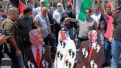 Los palestinos protestan por el acuerdo entre Estados Unidos e Israel