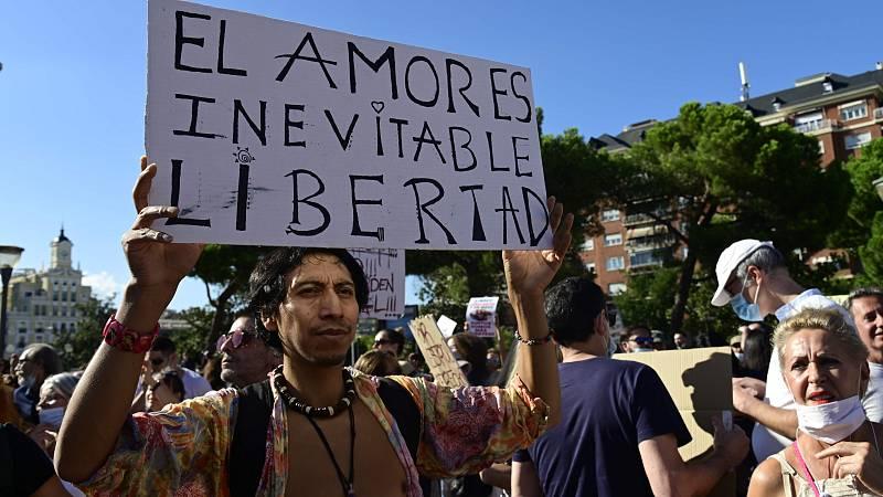 Habrá sanciones para quienes se manifestaron en el centro de Madrid sin mascarilla