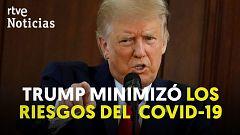 """Trump reconoce que minimizó la gravedad de la pandemia para evitar """"infundir pánico"""""""
