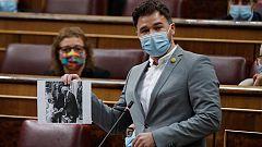 Rufián dice que a Felipe VI solo le votó Franco y que es el diputado número 53 de Vox en el Congreso