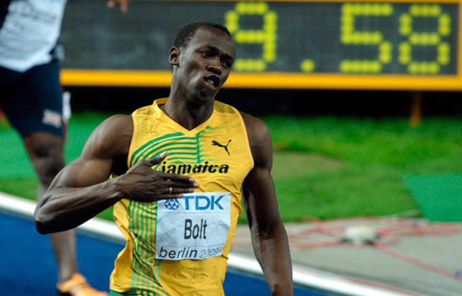 Usain Bolt en la final de los 100 metros lisos del Mundial de Berlín en 2009
