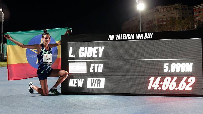 Gidey bate el récord del mundo de 5.000 metros